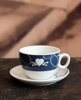 CoffeePirates latte / double cappuccino cup and saucer